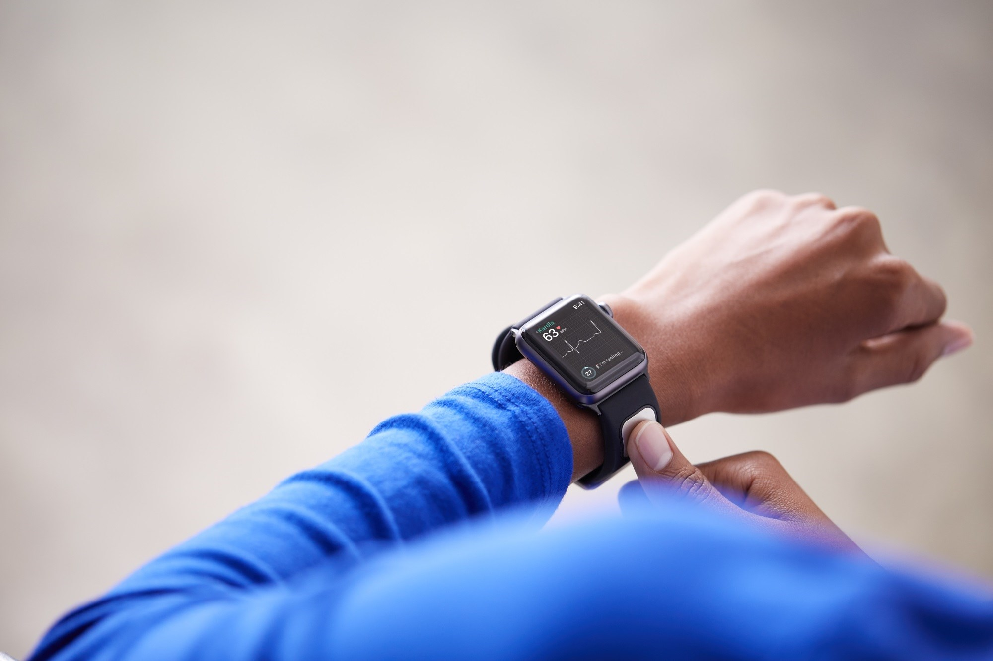 The KardiaBand allows patients to collect an electrocardiogram (ECG) reading using their Apple Watch. <i>Image Credit: AliveCor</i>